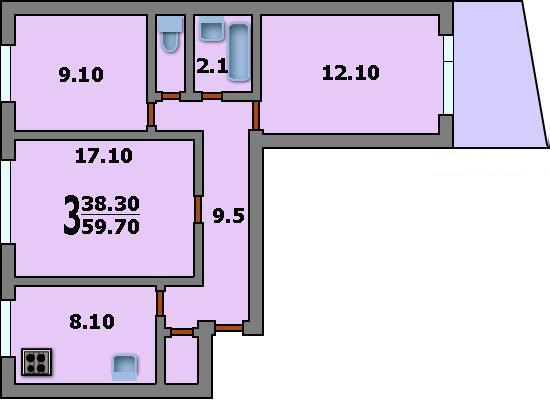 И-515-5М Планировка 3 Комнатная