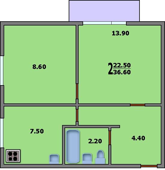 Дома серии ii-18/9 - 3d планировка 2-комнатной квартиры вари.