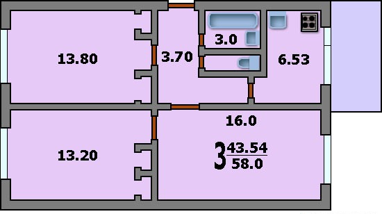 Дома серии ii-32 - 3d планировка 3-комнатной квартиры вариан.