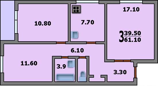 Дома серии п-30 - 3d планировка 3-комнатной квартиры вариант.
