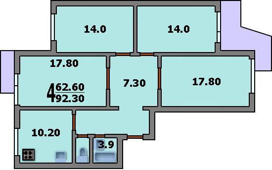 Дома серии п-3 - 3d планировка 4-комнатной квартиры вариант .