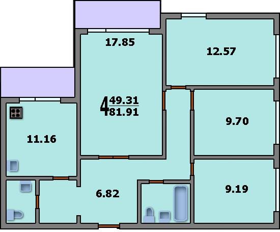 схема четырёхкомнатной квартиры