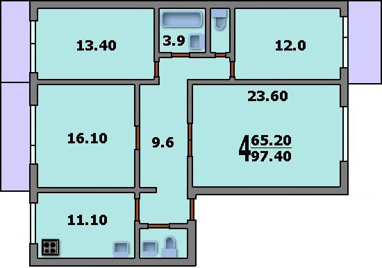 Дома серии п-46м - 3d планировка 4-комнатной квартиры вариан.