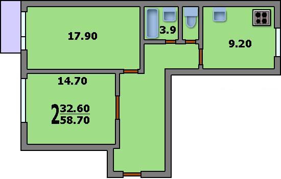 Дома серии п-4 - 3d планировка 2-комнатной квартиры вариант .