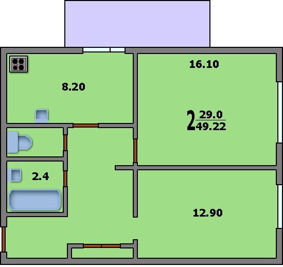 Дома серии тишинская - 3d планировка 2-комнатной квартиры ва.